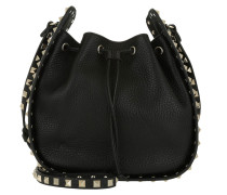 Rockstud Grained Bucket Bag Black Beuteltasche