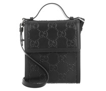 Cross Body Bags Men GG Embossed Messenger Bag Leather Black