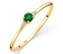 Ring 9K with Diamond and Emerald (Brazil)