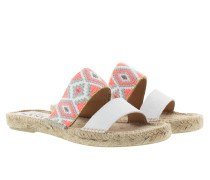 Tulum Flat Sandal Suede Ethnic Rubbon White Pink Squares Sandalen