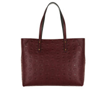 Klara Monogrammed Top Zip Shopper Medium Rustic Brown Tote