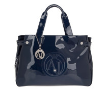 PVC Patent Logo Shopper Blue Tote