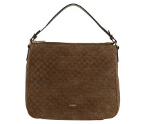Athina Velluto Stampa Hobo Bag Dark Brown