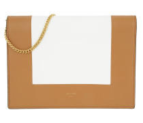 Frame Evening Clutch on Chain Tan/Optic White Umhängetasche braun