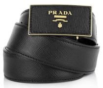 Kleinleder - Belt With Logo Square Buckle Black