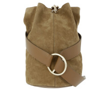 Medium B Bag Suede Nappa Green Beuteltasche