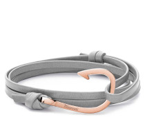 Armband Hook on Leather Bracelet Rose Plated Grey