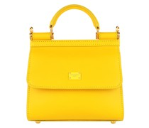 Satchel Bag Top Handle Mini Leather Giallo Oro
