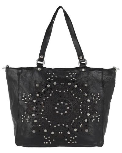 Campomaggi Damen Shopping Bag Studs + Laser Serenoa Nero Tasche