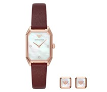 Uhr Two-Hand Leather Watch and Earrings Gift Set Burgundy