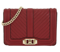 Chevron Quilted Small Love Cro Deep Red Umhängetasche