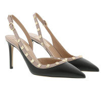 Pumps Sling Back Leather Nero/Poudre