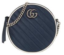 Umhängetasche GG Marmont Mini Round Shoulder Bag Leather Blue