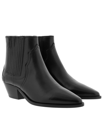Dicker Ankle Boots Leather Black Schuhe