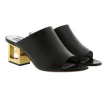 Schuhe Gold G Heel Mules Leather Black