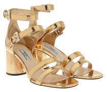 Strapped Patent Sandale Platino Oro Sandalen
