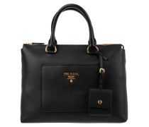 Shopping Bag Vitello Daino Nero Tote schwarz