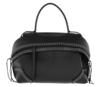 Wave Bag Chain Details Black Satchel