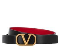 Gürtel V Logo Belt Calfskin Nero/Rouge Pur