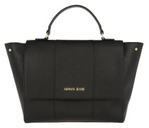 Synthetic Saffiano Trapeze Flap Top Handle Bag Nero Satchel
