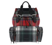 Patchwork Tartan Print Medium Backpack Military Red Rucksack