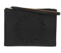 Pochette Zip Pouch With Perforated Logo Leather Black
