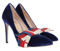 Pumps With Removable Web Bow Suede Blue rot