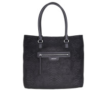 Active Snake Print Leather Tote Black