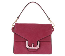 Ambrine Graphic Suede Bag Framboise Satchel
