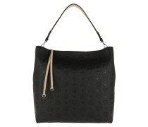 Hobo Bag Klara Monogrammed Leather Large Black