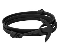 Armband Anchor on Leather Bracelet Black