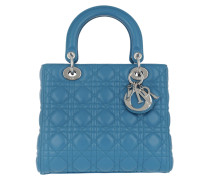 Lady Dior Medium With Strap Blue Pastel Tote