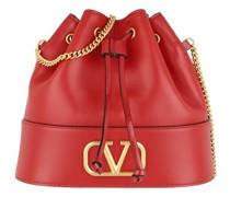 Beuteltasche V Logo Bucket Bag Leather