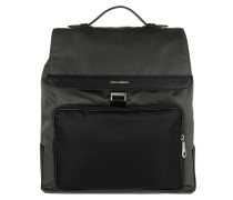 Men Backpack Vitello Bottalato Antracite/ Nero Rucksack silber