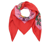 Flora Snake Print Silk Scarf Rose/Rosso Schal rot