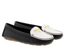Calzature Donna Saffiano Bicolo Slipper Nero/Bianco Schuhe
