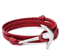 Armband Anchor on Leather Bracelet Polished Silver Red