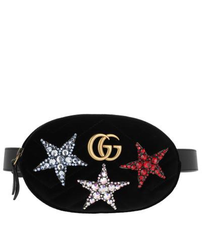Gürteltasche GG Marmont Velvet Belt Bag Stars Black schwarz