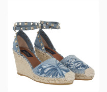 Camubutterfly Rockstud Wedge Sandale Light Denim Espadrilles