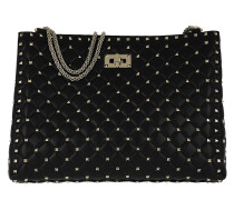 Rockstud Spike Shopping Shoulder Bag Black