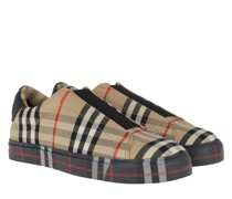 Sneakers Contrast Check Slip-On Leather Beige