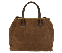 Myrrha Velluto Stampa Shopper Dark Brown Tote