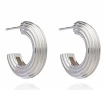 Ohrringe Chunky Ridged Silver Hoop Earrings