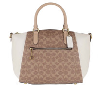 Tote Coated Canvas Signature Elise Satchel Tan Beechwood