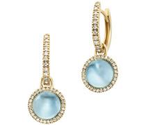 Ohrringe Earrings Pendant Blue Topas Gold/Blue