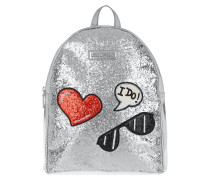 Backpack Glitters Metallic Argento Rucksack