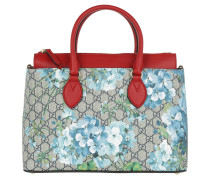GG Blooms Tote Beige Blue Hibiscus/Red