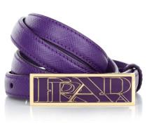 Kleinleder - Thin Leather Belt Gold Buckle Purple