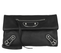 City Envelope Clutch Goatskin Noir/Silver
