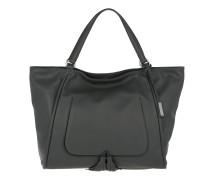 Velvet Leather Shopper Dark Grey